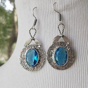 Beautiful engraved blue topaz stamped 925 earrings